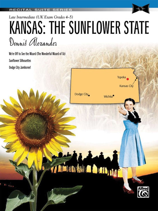 Alexander, Dennis - Kansas: The Sunflower State - Late Intermediate - Piano Duet Sheet (1 Piano 4 Hands) - Recital Suite Series