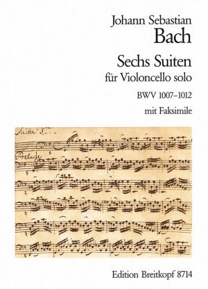 Bach - Six (6) Suites for Solo Violoncello ed. Kirsten Beisswenger (BWV 1007, 1008, 1009, 1010, 1011, 1012) - Cello Solo w/ Facsimile - Urtext