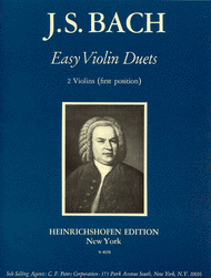 Bach - Easy Violin Duets ed. Waldemar Twarz - Fourteen (14) Duets in the First (1st) Position - Violin Ensemble Duet: Two (2) Violins - Score Only