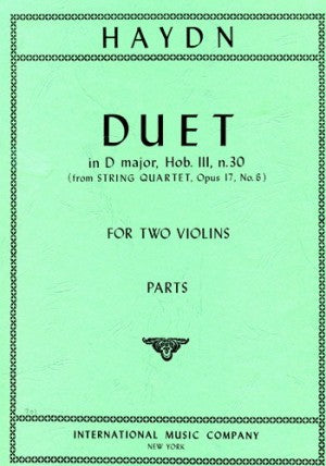 Haydn - Duet in D major, Hob III n.30 (from String Quartet, Opus 17/6) - Violin Ensemble Duet: Two (2) Violins - Parts Only