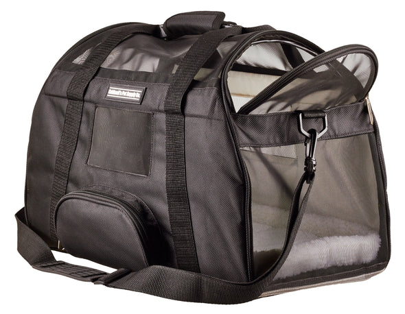 "Airline Pet Carrier Under Seat Travel Bag by Caldwell's Pet Supply Co. with 2 Bolster Beds for Cats & Small Dogs - 17""L x 10""W x 13""H"