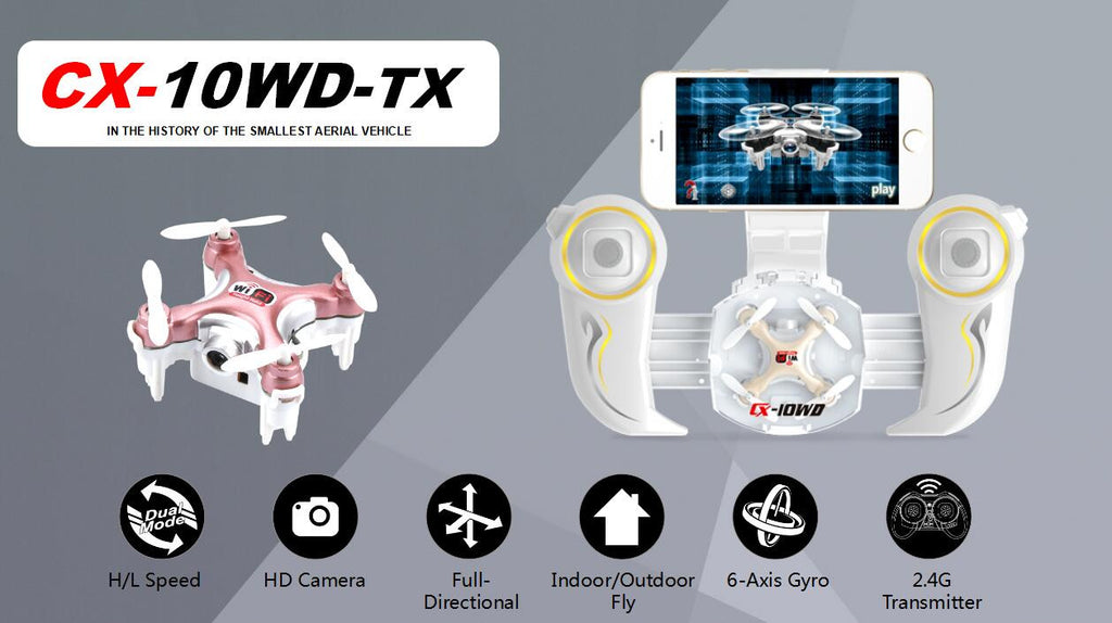 CX-10WD-TX - The World Smallest WIFI FPV drone with Transmitter and altitude hold