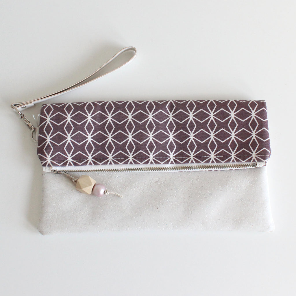 Foldover Clutch Geo Plum w/ White Cork