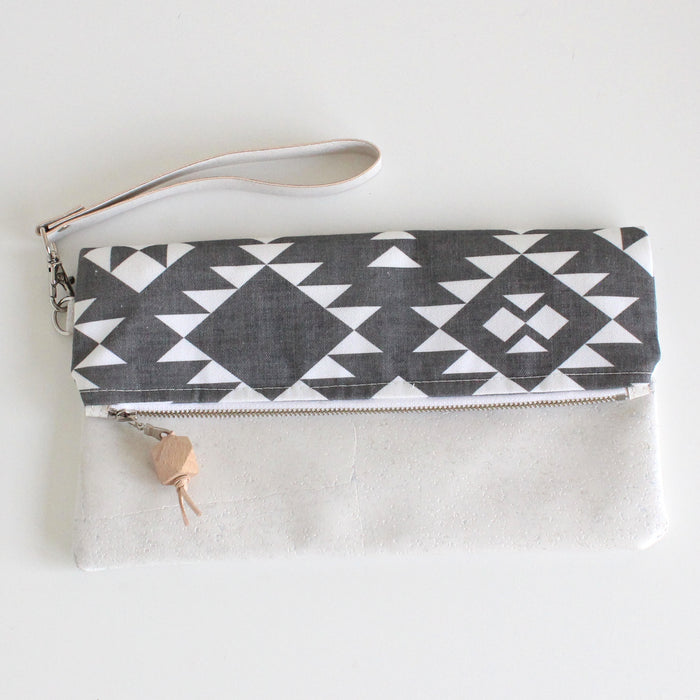 Foldover Clutch Southwestern Black with White Cork
