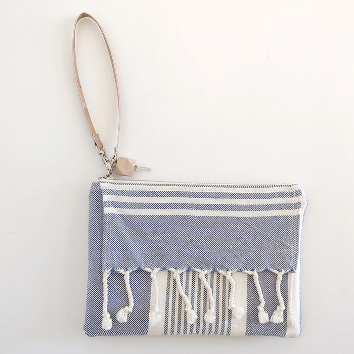 Fringe Clutch Stripe Soft Blue