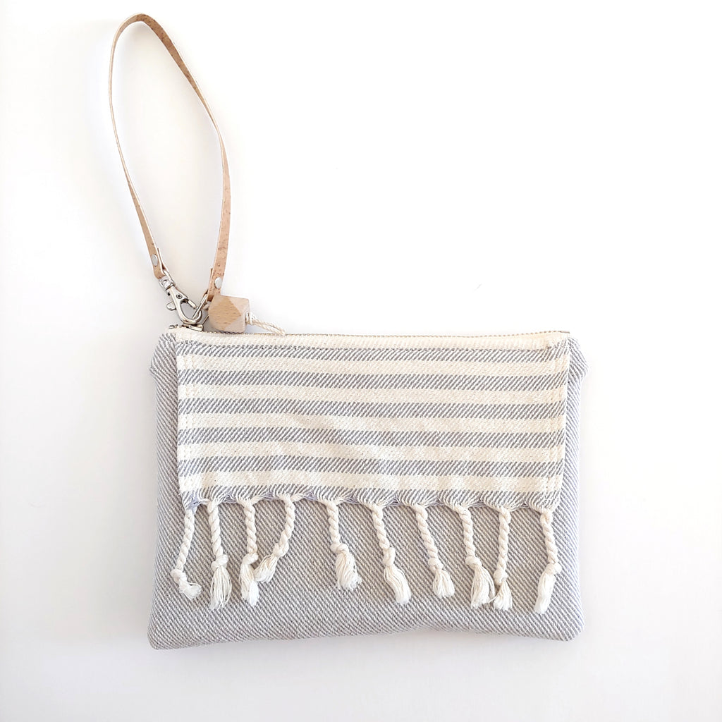 Fringe Clutch Stripe Light Gray