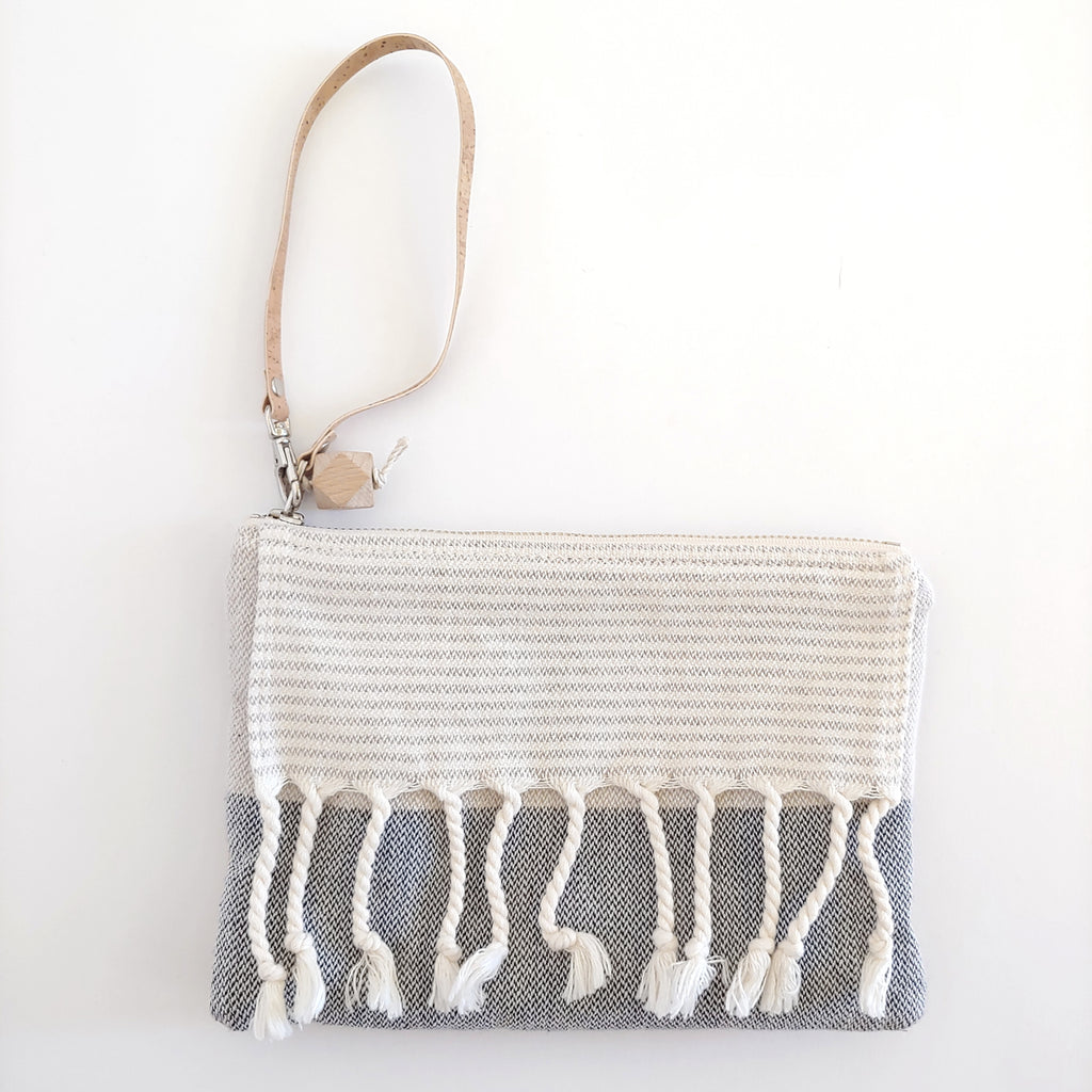 Fringe Clutch Wide Stripe Gray, Beige, Cream