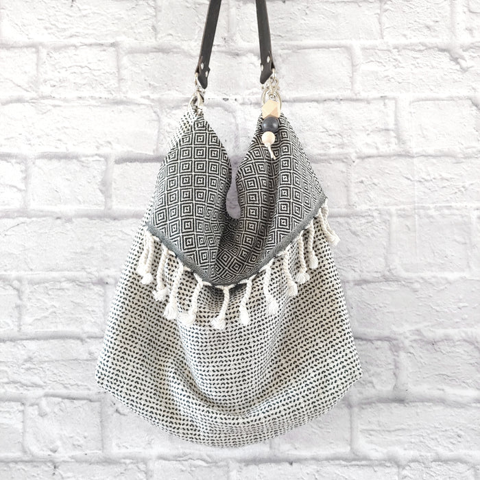 Fringe Grommet Bag Diamond and Dits in Black and White