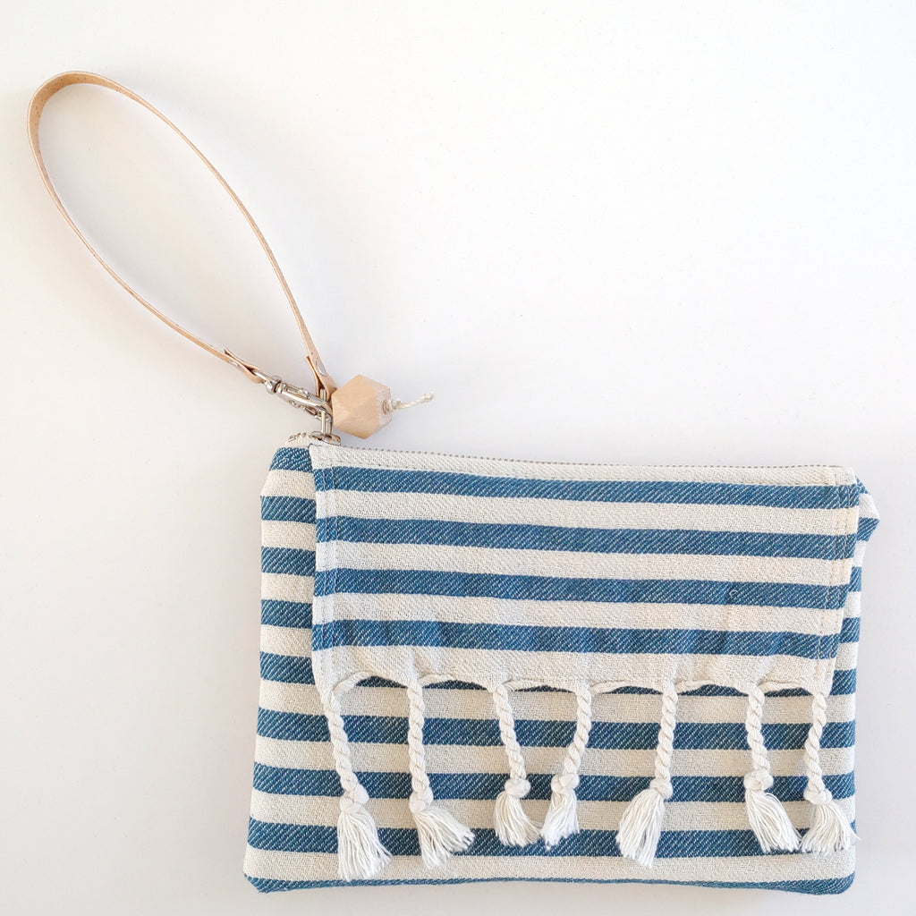 Fringe Clutch Stripe Blue