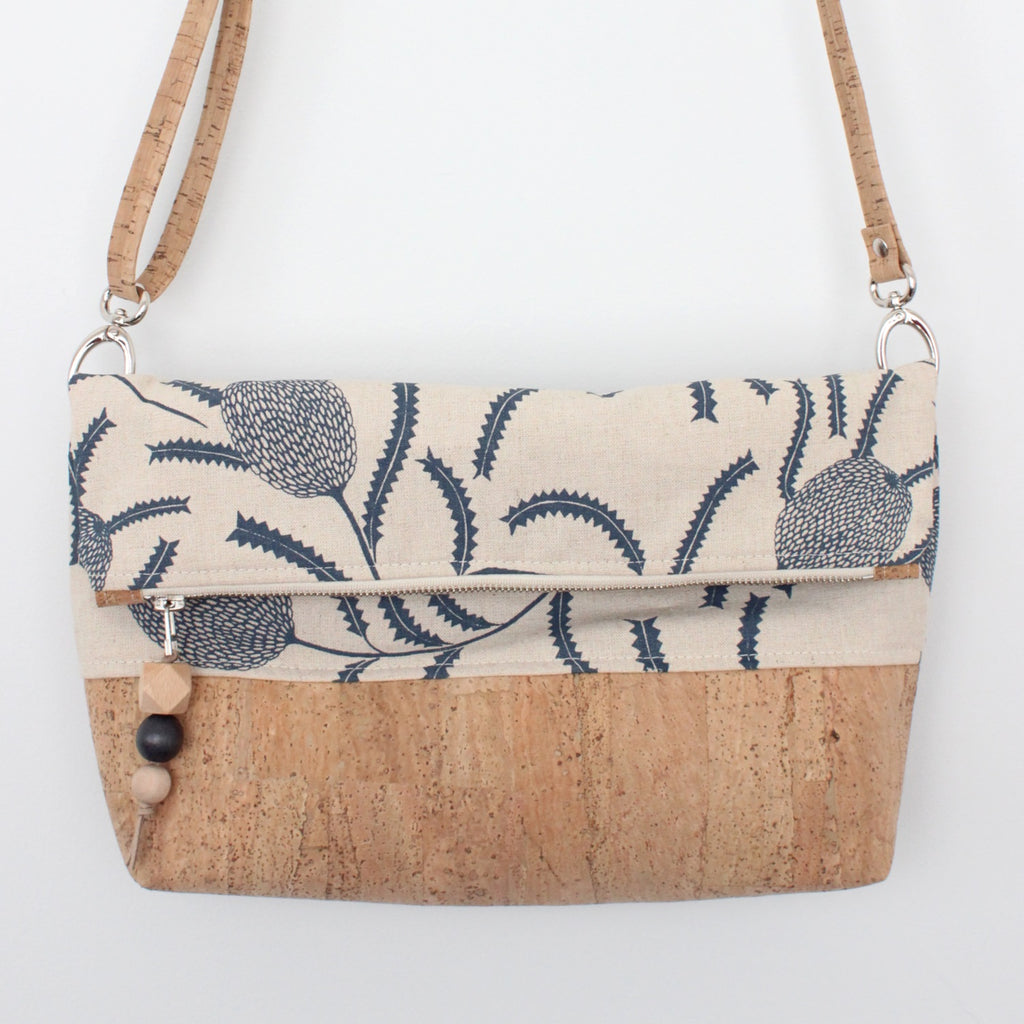 The Ziptop Foldover Crossbody Bag in Sawtooth Banksia Indigo
