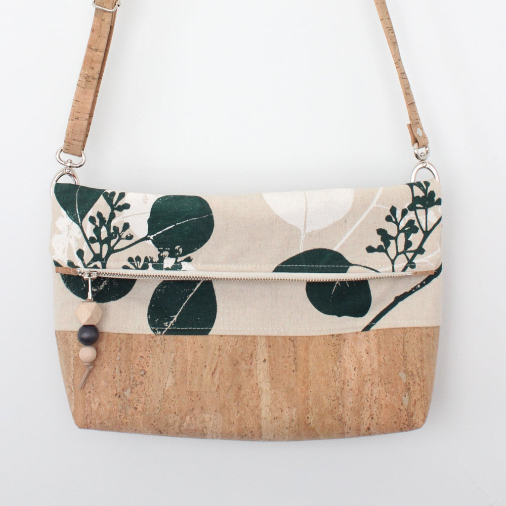 The Ziptop Foldover Crossbody Bag in Silver Dollar Gum Evergreen