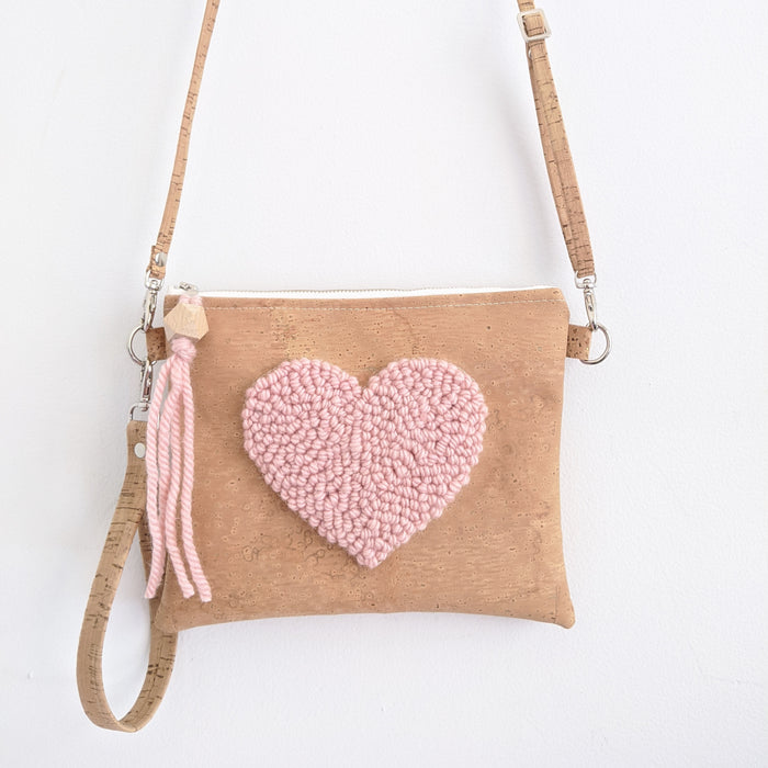The Punch Needle Clutch Heart Blush Pink