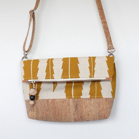 The Ziptop Foldover Crossbody Bag in Banksia Leaf Yellow Ocher