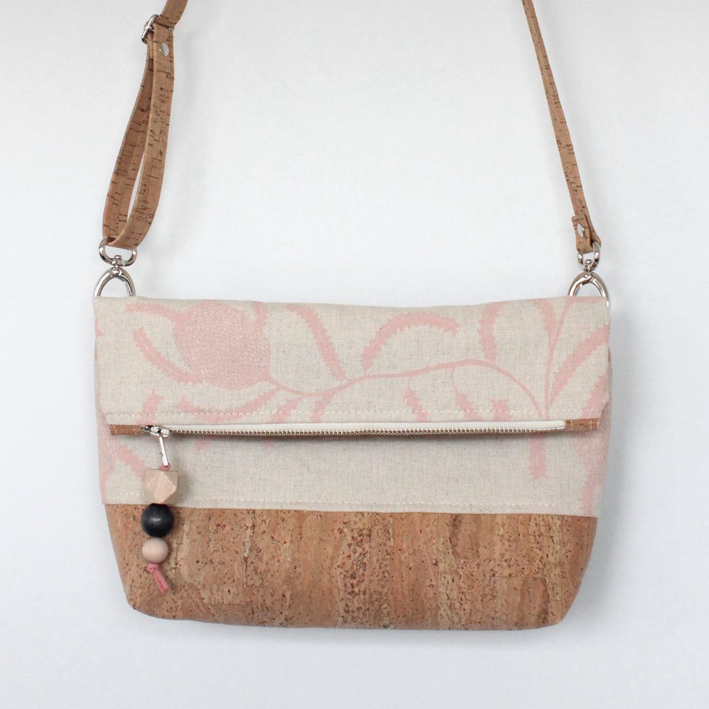 The Ziptop Foldover Crossbody Bag in Sawtooth Banksia Blush Pink
