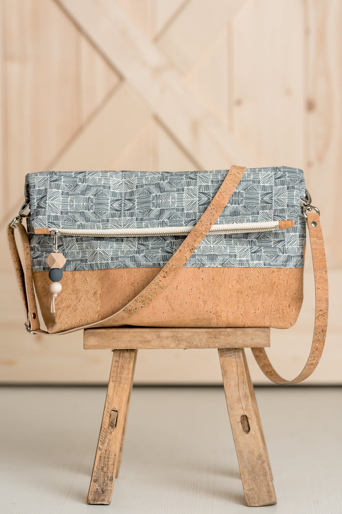 Large Zip Top Foldover Crossbody Bag (13 fabric choices, 2 all cork choices)