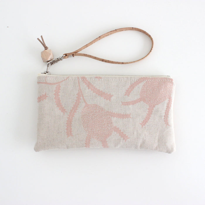 The Small Clutch in Sawtooth Banksia Blush Pink