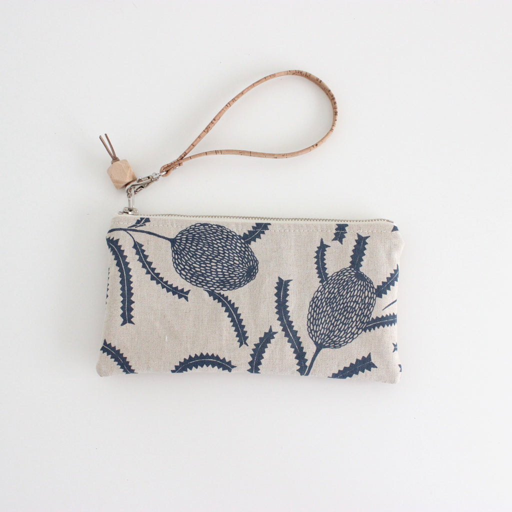 The Small Clutch in Sawtooth Banksia Indigo