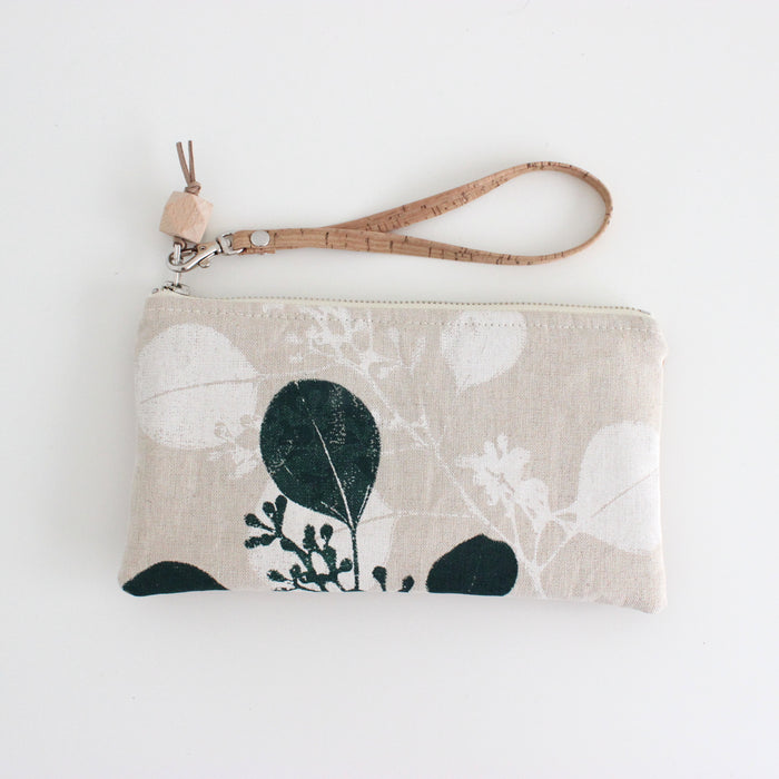The Small Clutch in Silver Dollar Gum Evergreen