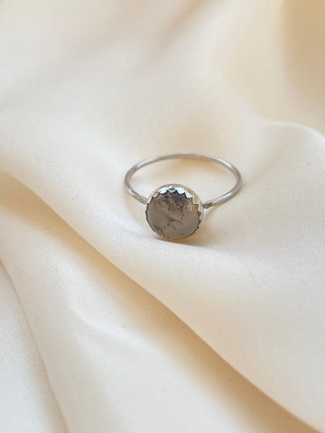 Clear Agata Silver Ring