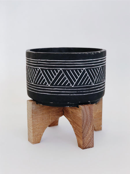 Black Tribal Plant Pot
