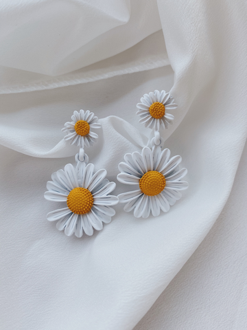 Double Daisy Earrings- White