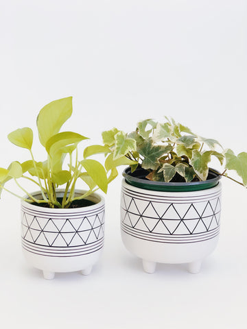 Geo White Set of Plant Pots