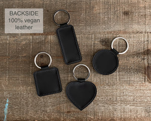 Personalized Vegan Leather Photo Key Chain Holder