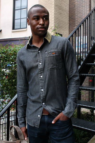 Chambray Velvet Button-Up