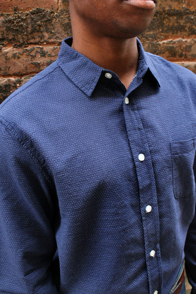 Blue Dot Button-Up