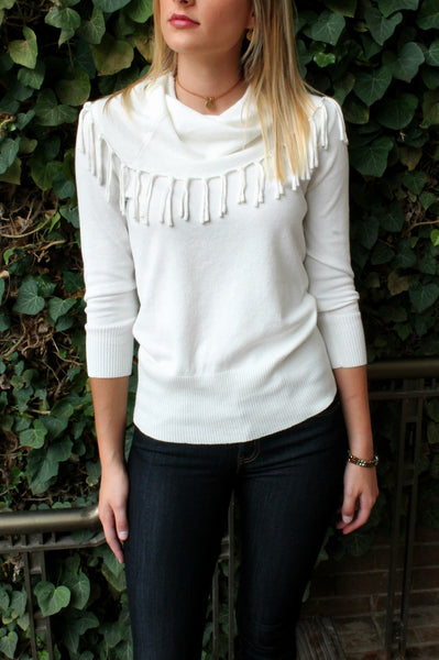 Cowl Fringe Sweater