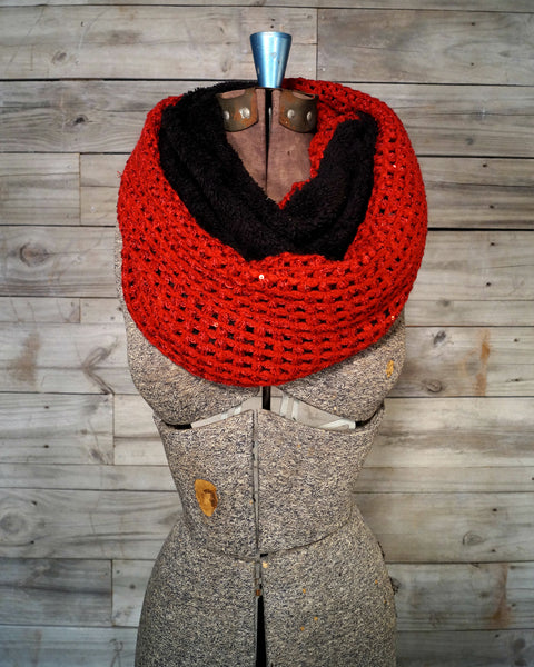 Red and Black Fuzzy Scarf