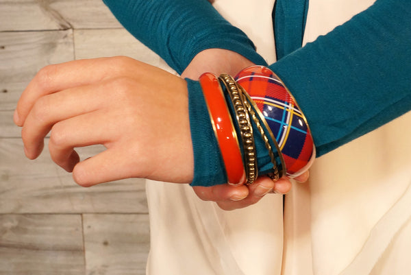 Plaid Bangles Red