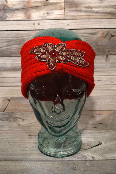Red Floral Winter Headband