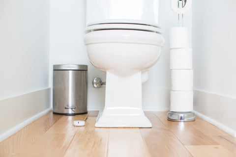 Photo of Notion sensor placed near toilet to detect water leaks