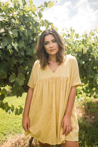 Tenley Dress in Mustard - Vinnie Louise