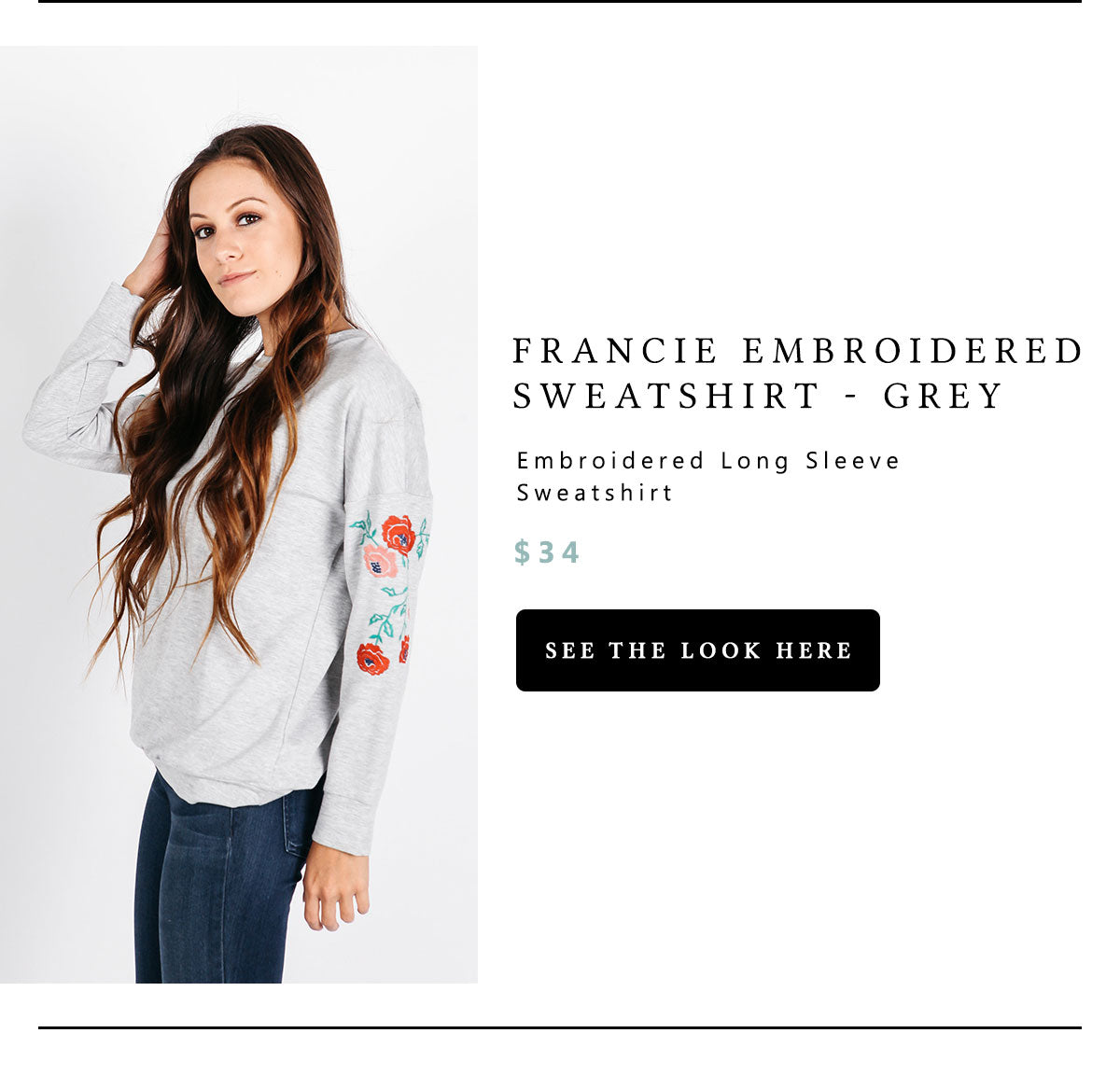 Francie Embroidered Sweatshirt - Grey