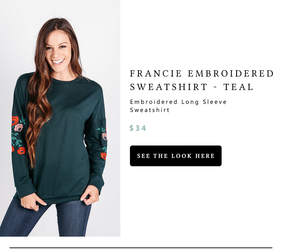 Francie Embroidered Sweatshirt - teal