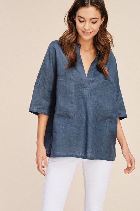 Tess Linen Top - Blue