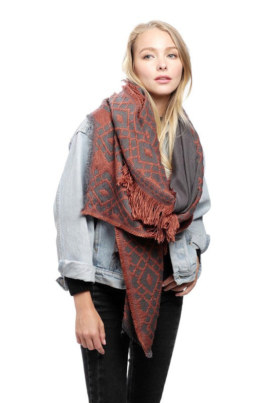 Barcelona Embroidered Scarf - Orange