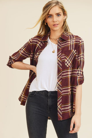 Addilyn Plaid Shirt - Burgundy