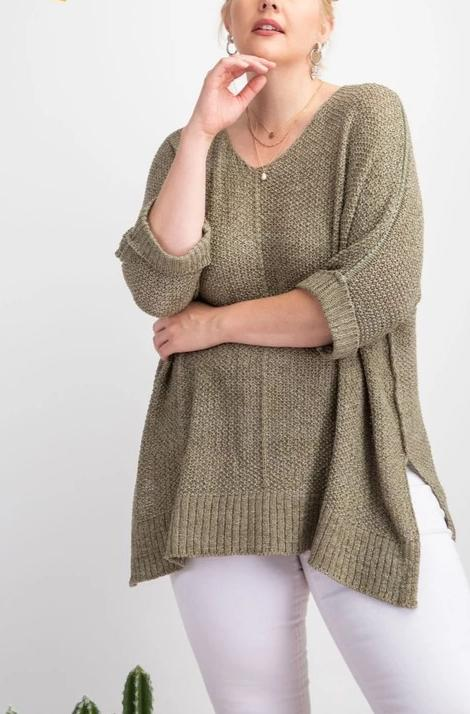 Marley Sweater - Olive - Curvy