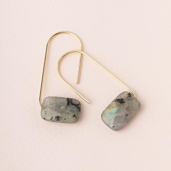 Floating Stone Earring - Labradorite/Gold