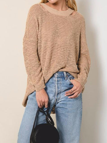 Knit Crossback Sweater - Mocha