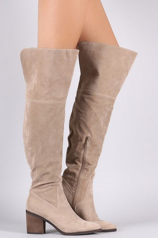 Vida Over-the-Knee Boots - Beige - Vinnie Louise - 1