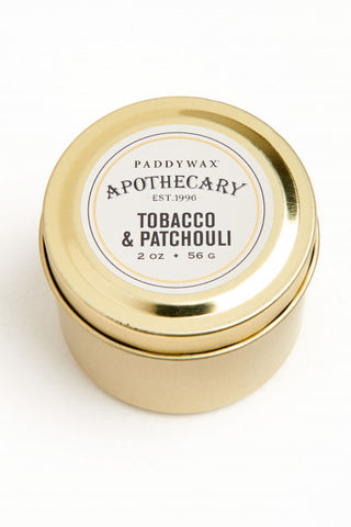 Apothecary, Tin 2 oz, Tobacco + Patchouli Candle
