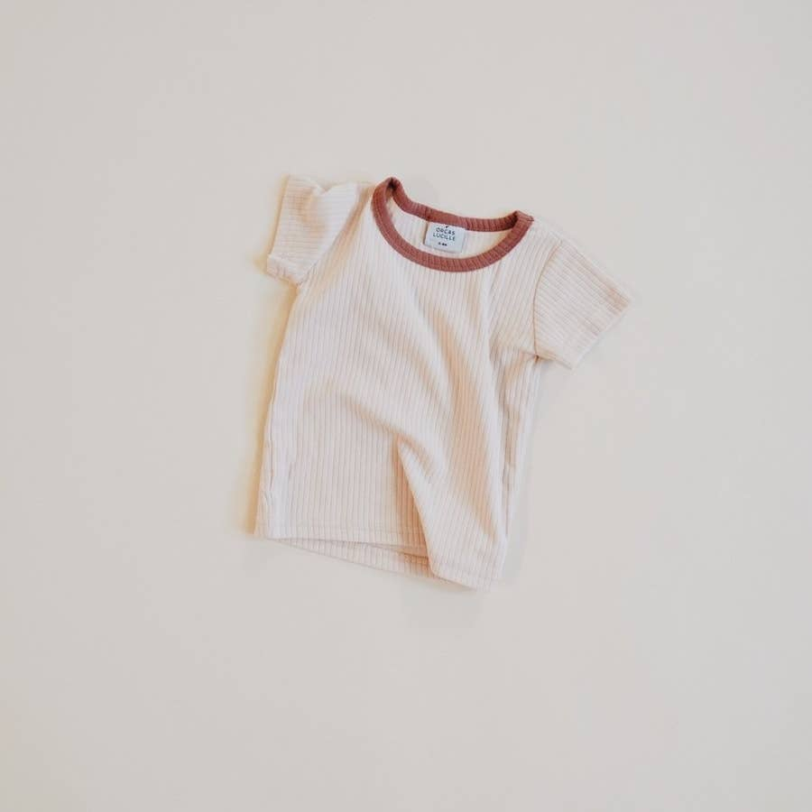 Retro Tee - Cream Terracotta Neckline