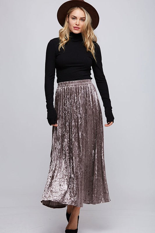 Coco Metallic Maxi Skirt - Mocha