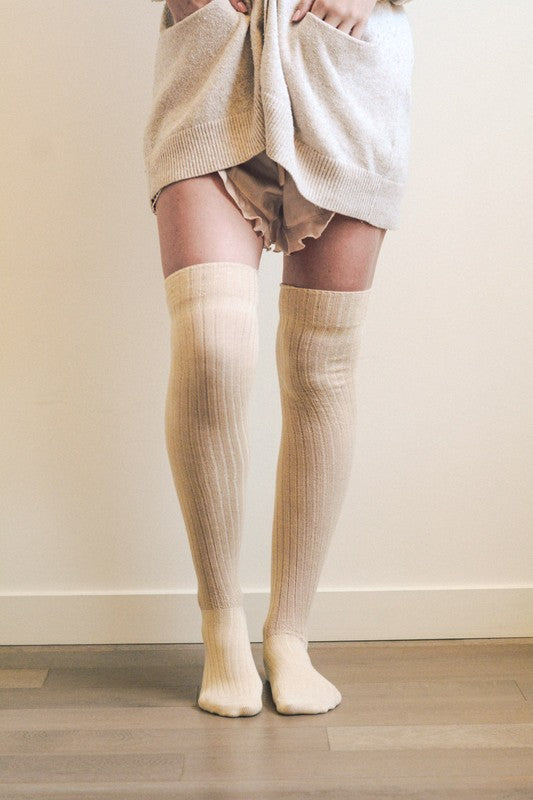 Ribbed Thigh High Socks - Oatmeal