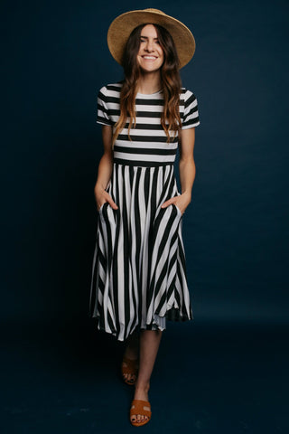 Adelaide Striped Dress - Black