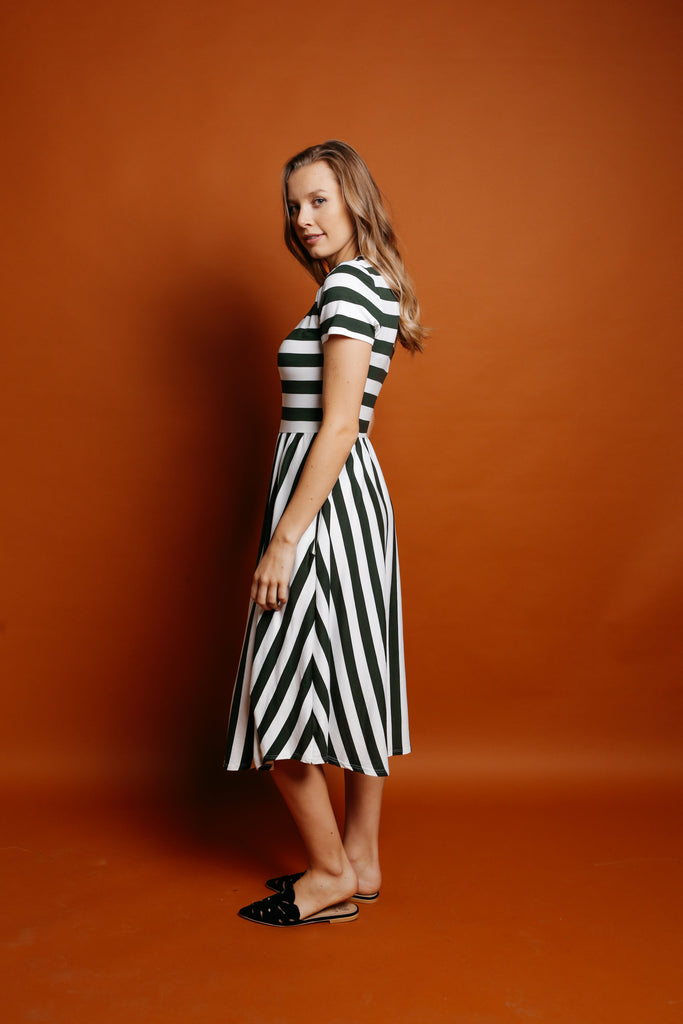Adelaide Striped Dress - Olive